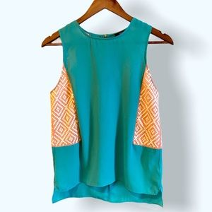 THML Sleeveless Top Turquoise Orange Embroidery XS
